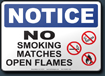 Notice No Smoking Matches Open Flames Sign